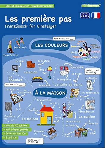 9783954131037: mindmemo Lernfolder - Les premiers pas - Französisch für Einsteiger - Vokabeln lernen mit Bildern - Zusammenfassung: genial-einfache Lernhilfe - ... - Din A4 6-seiter + selbstklebender Abhefter