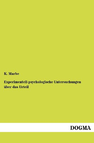 9783954547258: Experimentell-psychologische Untersuchungen über das Urteil (German Edition)