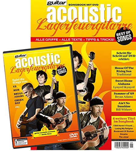 guitar acoustic Lagerfeuergitarre Best of Songs: Songbook mit DVD: Justin Nova
