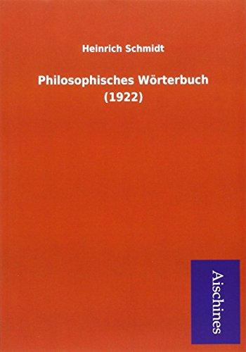 9783955834135: Philosophisches Wörterbuch (1922)