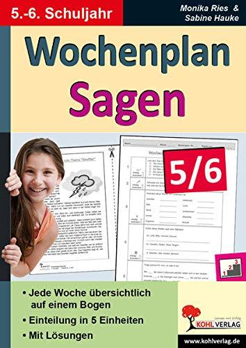 9783956866319: Wochenplan Sagen 5/6: Kopiervorlagen zum Einsatz im 5.-6. Schuljahr