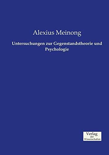 9783957005816: Untersuchungen zur Gegenstandstheorie und Psychologie (German Edition)