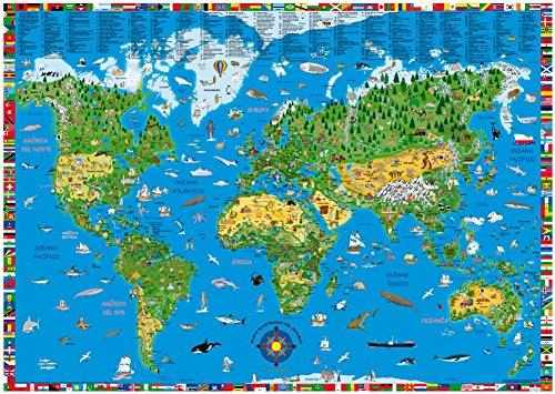9783981025248: Mapamundi ilustrado infantil en castellano 100x70 cm. Kruger. - 9783981025248