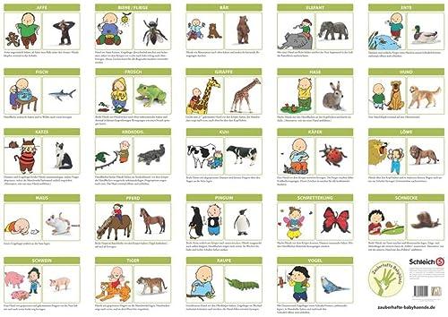 9783981643015: Babyzeichen Poster - Zauberhafte Babyhände entdecken Tiere