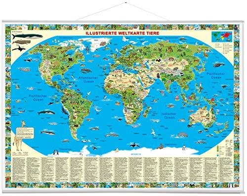 9783981689105: Illustrierte Weltkarte Tiere: Erlebniskarte mit Metall-Beleistung