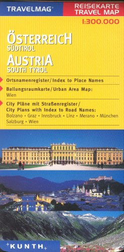 9783996362598: Austria & Northern Italy 1:300,000 Touring Map with city plans, KUNTH