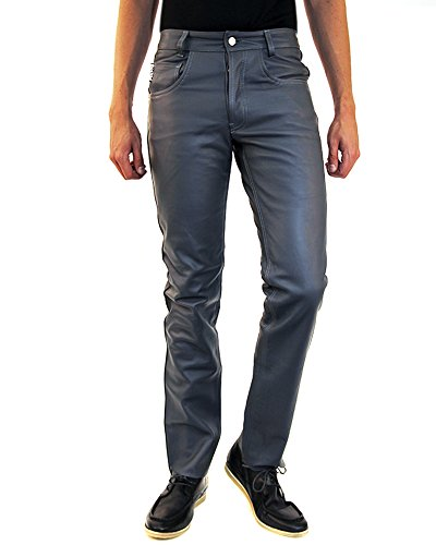 9783999848310: Bockle� Gray leather jeans for men Leatherjeans Men Pants Leather Jeans New, Size: W34/L36