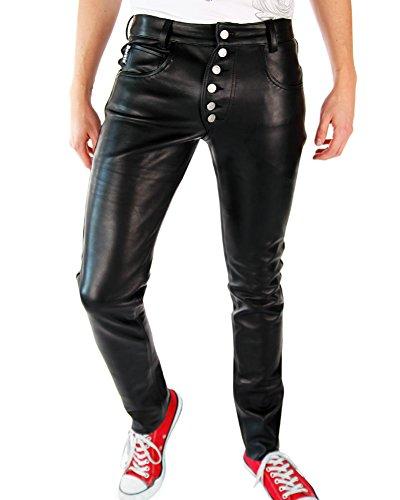 9783999854281: Bockle� Bump - Pantalon en cuir noir pour homme fermeture boutons casual moto, Size: W29/L30