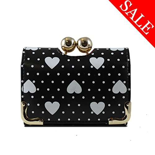 9784510021304: Lady's wallet in heart dot black,lady purse,coin purse,card holder,woman's purse