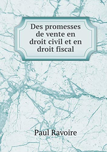 9785519277235: Des Promesses de Vente En Droit Civil Et En Droit Fiscal