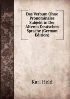 9785876277763: Das Verbum Ohne Pronominales Subjekt in Der �lteren Deutschen Sprache (German Edition)