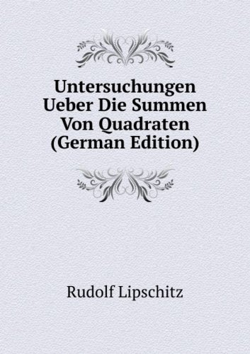 9785876884688: Untersuchungen Ueber Die Summen Von Quadraten (German Edition)