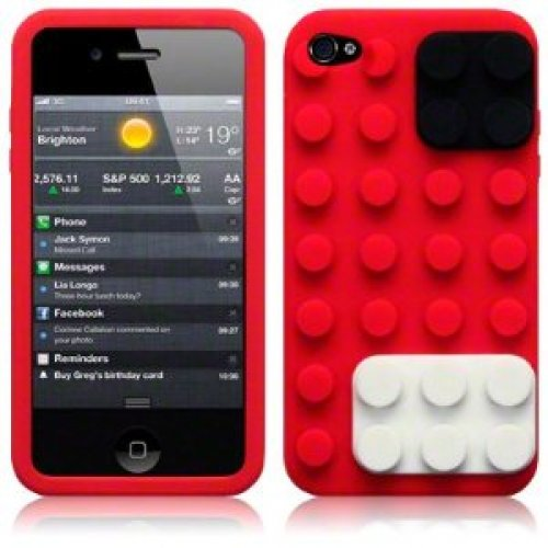 9785891044203: OBiDi - 3D Brique Coque en Silicone / Housse pour Apple iPhone 4S / Apple iPhone 4 - Rouge avec 3 Film de Protection et Stylet