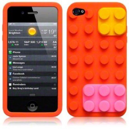 9785891044289: OBiDi - 3D Brique Coque en Silicone / Housse pour Apple iPhone 4S / Apple iPhone 4 - Orange avec 3 Film de Protection et Stylet