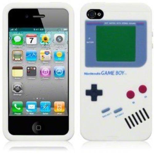 9785891044975: OBiDi - 3D Gameboy Coque en Silicone / Housse pour Apple iPhone 4S / Apple iPhone 4 - Blanc avec 3 Film de Protection