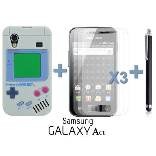 9785891051164: OnlineBestDigital - Etui en silicone de style Gameboy for Samsung Galaxy Ace - Gris avec 3 Film de Protection et Stylet