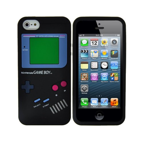9785891054196: OBiDi - Gameboy Style Silicone Case for Apple iPhone 5S / Apple iPhone 5 - Black with 3 Screen Protectors and Stylus