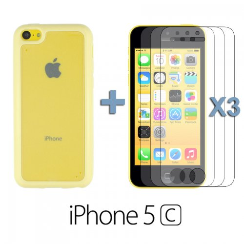 9785891057401: OnlineBestDigital - Transparent Case with Colorful Outlet / Housse pour Apple iPhone 5C - Jaune avec 3 Film de Protection