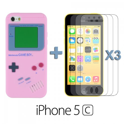 9785891060487: OBiDi - Gameboy Style Silicone Case for Apple iPhone 5C - Pink with 3 Screen Protectors