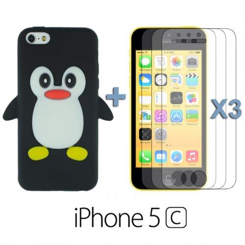 9785891061118: OBiDi - 3D Manchot Coque en Silicone / Housse pour Apple iPhone 5C - Noir avec 3 Film de Protection