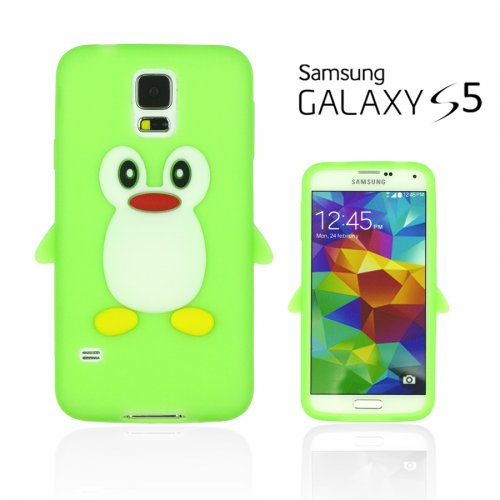 9785891079120: OBiDi - Penguin Style Soft Silicone Case for Samsung Galaxy S5 - Green with 3 Screen Protectors