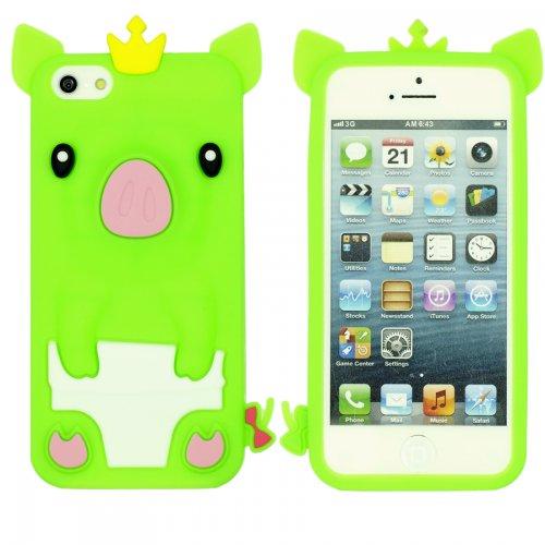 9785891083301: OBiDi - 3D Porcin Coque en Silicone / Housse pour Apple iPhone SE / Apple iPhone 5S / 5 - Vert
