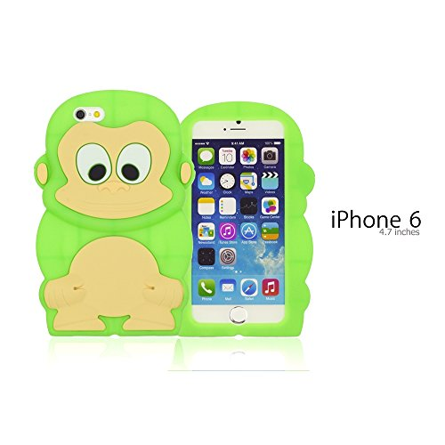9785891100909: OBiDi - 3D Singe Coque en Silicone / Housse pour Apple iPhone 6 / 6S (4.7 inch)Smartphone - Vert avec 3 Film de Protection