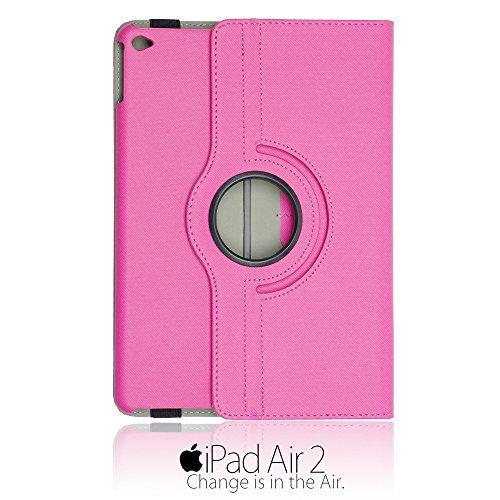 9785891121966: OBiDi - Denim Texture 360 Degree Rotating Case Stand for Apple iPad Air 2 - Hot Pink