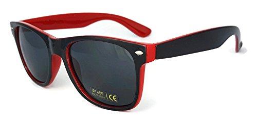 9785992621334: New Wayfarer Gafas de sol de dos tonos Espejo Lentes Vintage Retro Classic Unisex UV400 Black & Orange frame Silver mirrored Lens