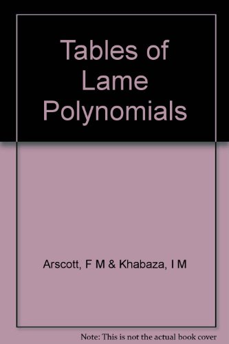 9786001168260: Tables of Lame Polynomials