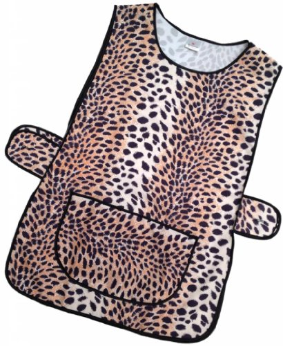 9786030539185: Ladies Tabard Leopard Print pattern 100% Polyester with Black Piping to Edge, Large Pocket, Button Fastening at Side OS (44-46 inches)