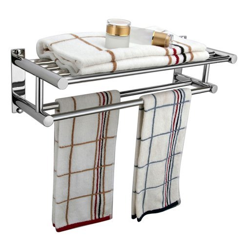 9786040246448: Ardisle Double Chrome Wall Mounted Bathroom Towel Rail Holder Storage Rack Shelf Bar