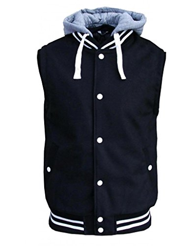 9786040397508: SK-5 Royce Men's Hooded Varsity College Retro Gilet Bodywarmer Jacket black Medium