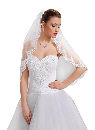 9786040594983: Voile de jeune mariée grand gala bal avec bordure en dentelle longueur coude peigne transparent fixé, longueur 80 cm