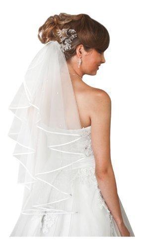9786040595065: 1 Tier Wedding Bridal Elbow Satin Edge Veil Length 28