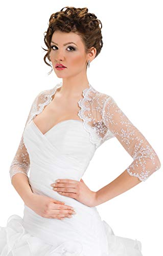 9786040603432: Wedding Top Bridal Lace Bolero Shrug Jacket Three Quarter Sleeve (6, White)