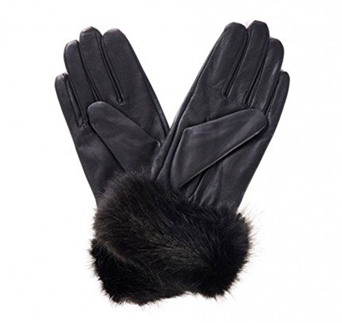 9786040869203: QUALITY SOFT BLACK LEATHER FUR CUFF GLOVES (Medium- 7