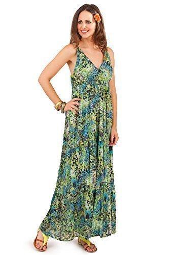 9786040969897: Pistachio - Robe longue imprim� animal pour femmes - Vert, L - 44-46