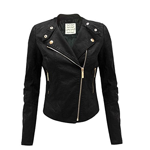 9786041041370: MISSY - Blouson Court Simili-Cuir Glissi�re Zip Fourrure Motard Femmes - 42, Noir glissi�re zip