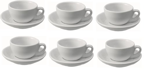 9786041388970: Set of 6Cappuccino Cup 0.28Litres Porcelain Cappuccino Cups with Saucer