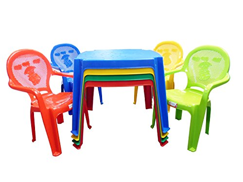 9786041451308: Kids/Niños Premium-Mesa y silla-Juego de sillas con pato en de pato (elegir color), plástico, Verde, 3 Chairs