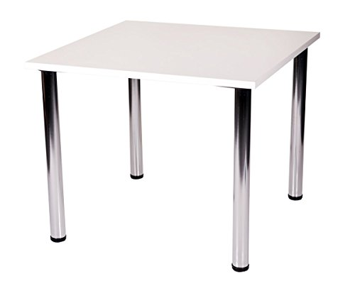 9786041498464: Fabian square small or large kitchen dining table with 4 chrome legs (White, 90 x 90 cm)
