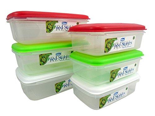 9786041512238: Whitefurze Juego de 6o 3cajas/Contenedores de almacenamiento de alimentos con tapa 1.5L 0.8L Blanco y Rojo, Verde, plástico, multicolor, 6pc