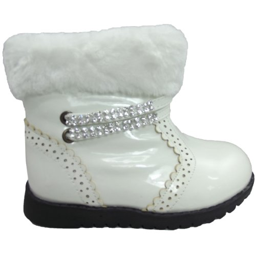 9786041696464: UKFS Collection - Botas de Material Sintético para niña (White with Chain)
