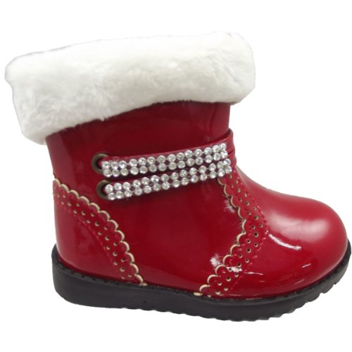 9786041696471: UKFS Infant Baby Girls Winter Fur Snow Patent Party Ankle Boots (6 UK Child, Red with Chain)