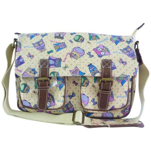 9786041698147: Anna Smith (par LYDC) hibou et Dot Imprimer Daisy Cartable / huile clotch sac � bandouli�re (Hibou et Point Beige)