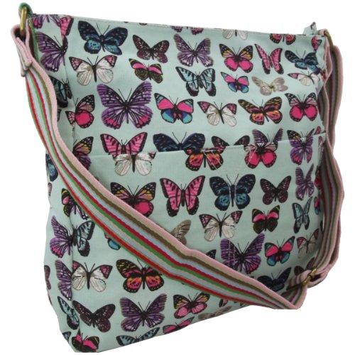 9786041700130: UKFS Butterfly Print Nicole Cross Body Bag / Ladies Girls Designer Canvas Messenger Bag (Butterfly Light Blue)