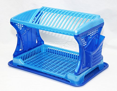 9786041755062: Design élégant bleu deux 2couche Ustensiles Égouttoir à couverts en plastique