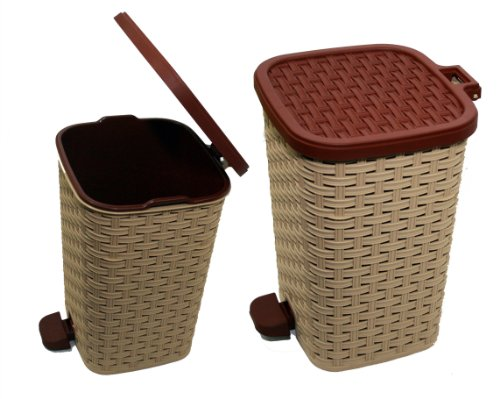 9786041755628: Set of 6L & 12L Litre Pedal Waste Bin Dustbin Kitchen Office Bathroom Rubbish (Brown / Cream)
