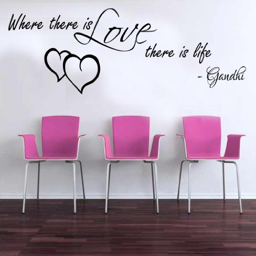 9786041958425: Where there is love Gandhi Quote Wall Sticker Vinyl Decal 100x55 (black)